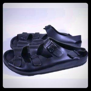 Birkenstock Triple Strap Black Leather Sandals
